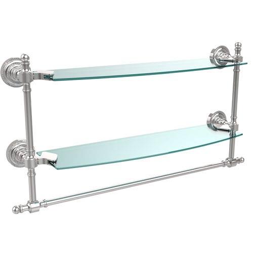 Allied Brass Polished Chrome Retro-Dot 18-Inch Double Glass Shelf with Towel Bar