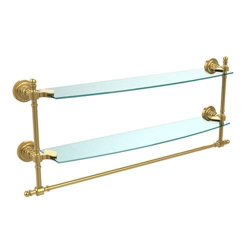 Polished Brass Retro-Dot 24-Inch Double Glass Shelf with Towel Bar