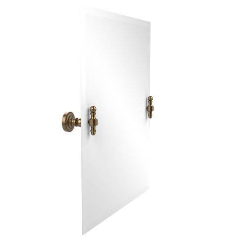 Frameless Rectangular Tilt Mirror with Beveled Edge, Brushed Bronze