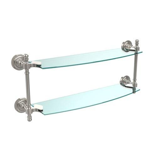 Retro Dot Polished Nickel 18 Inch x 5 Inch Double Glass Shelf
