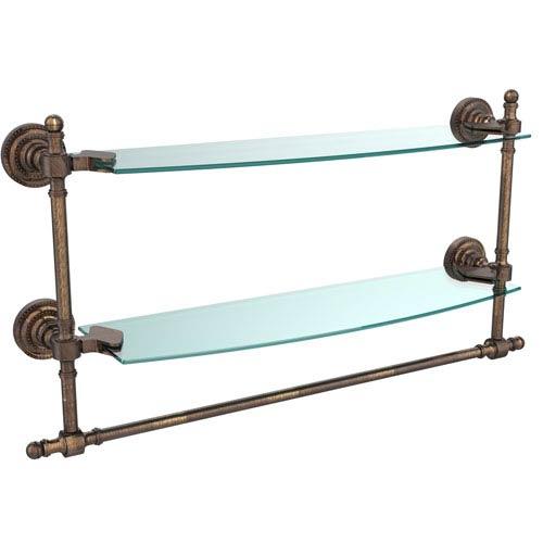 Allied Brass Retro Dot Venetian Bronze 18 Inch Double Glass Shelf with Towel Bar