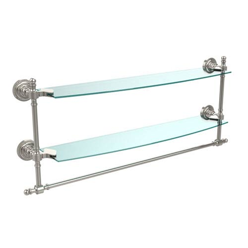 Retro Dot Polished Nickel 24 Inch Double Glass Shelf with Towel Bar