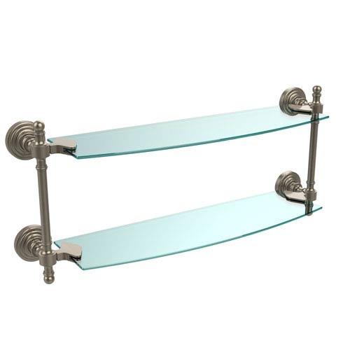 Antique Pewter Retro-Wave 18-Inch Double Glass Shelf