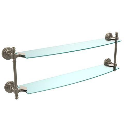 Antique Pewter Retro-Wave 24-Inch Double Glass Shelf