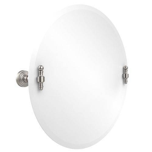 Frameless Round Tilt Mirror with Beveled Edge, Satin Nickel