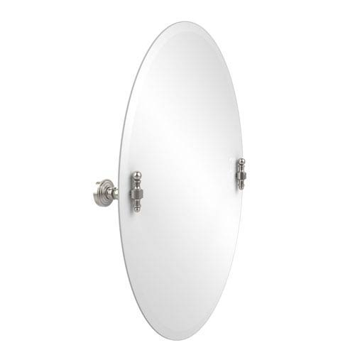 Frameless Oval Tilt Mirror with Beveled Edge, Polished Nickel