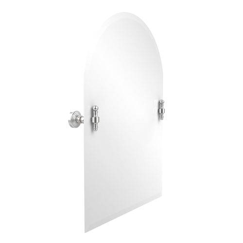 Frameless Arched Top Tilt Mirror with Beveled Edge, Satin Chrome