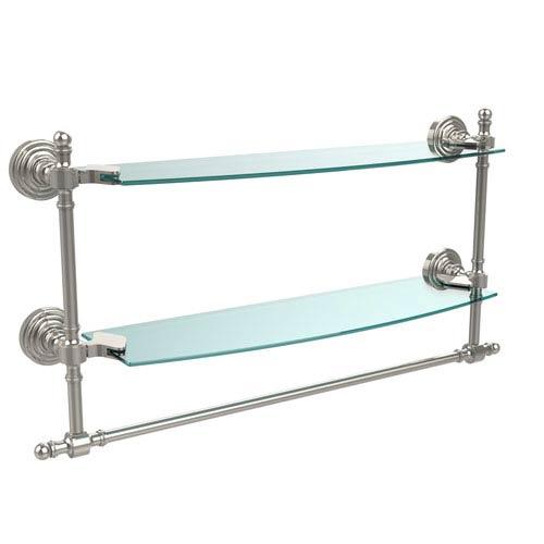 Allied Brass Retro Wave Polished Nickel Double Shelf w/ Towel Bar