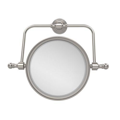 Retro Wave Collection Wall Mounted Swivel Make-Up Mirror 8 Inch Diameter with 4X Magnification, Satin Nickel