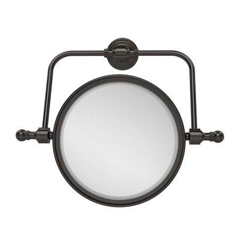 Retro Wave Collection Wall Mounted Swivel Make-Up Mirror 8 Inch Diameter with 5X Magnification, Oil Rubbed Bronze