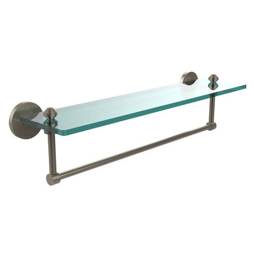 Antique Pewter Southbeach 22-Inch Glass Shelf with Towel Bar