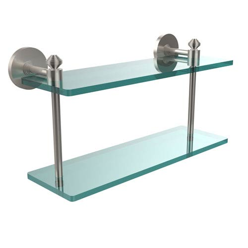 Allied Brass Southbeach Collection 16 Inch Two Tiered Glass Shelf, Satin Nickel