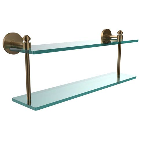 Southbeach Collection 22 Inch Two Tiered Glass Shelf, Brushed Bronze