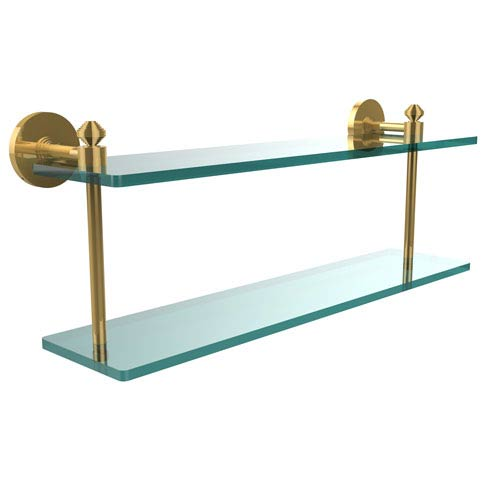 Southbeach Collection 22 Inch Two Tiered Glass Shelf, Unlacquered Brass
