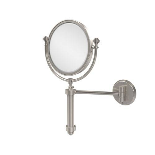 Allied Brass Southbeach Collection Wall Mounted Make-Up Mirror 8 Inch Diameter with 2X Magnification, Satin Nickel