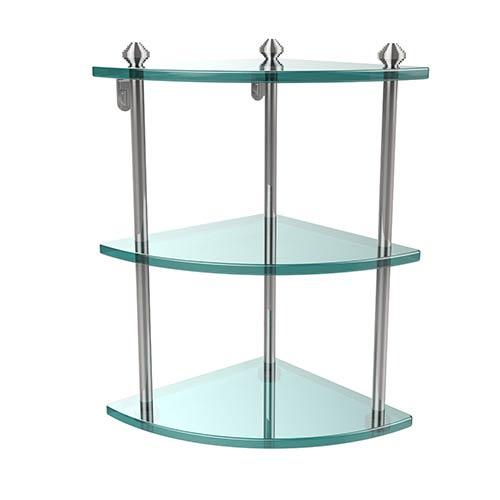 Polished Chrome Southbeach Triple Corner Glass Shelf