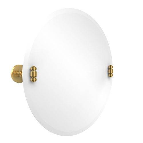 Frameless Round Tilt Mirror with Beveled Edge, Unlacquered Brass