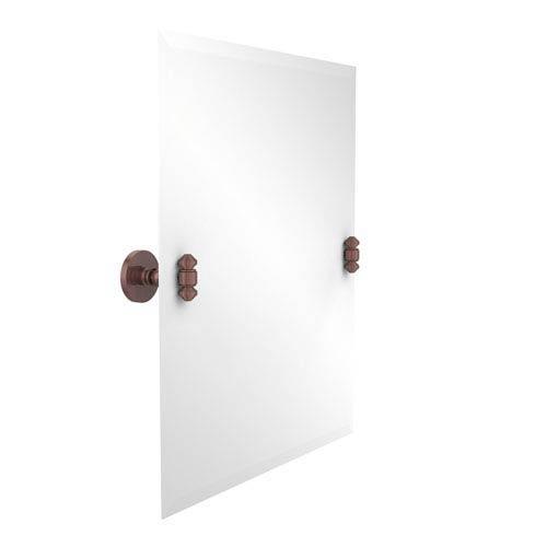 Frameless Rectangular Tilt Mirror with Beveled Edge, Antique Copper