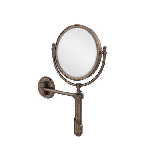 Soho Collection Wall Mounted Make-Up Mirror 8 Inch Diameter with 5X Magnification, Venetian Bronze