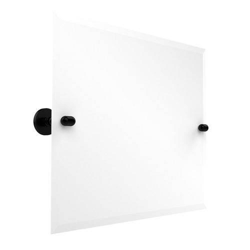 Frameless Landscape Rectangular Tilt Mirror with Beveled Edge, Matte Black
