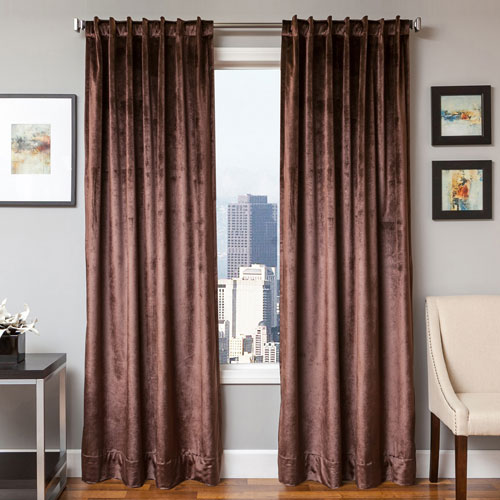 Softline Home Fashions Tatum Espresso 84 x 55 In. Luxurious Velvet Panel