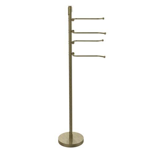 Floor Standing 49 Inch 4 Pivoting Swing Arm Towel Holder, Antique Brass