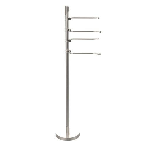 Floor Standing 49 Inch 4 Pivoting Swing Arm Towel Holder, Satin Nickel