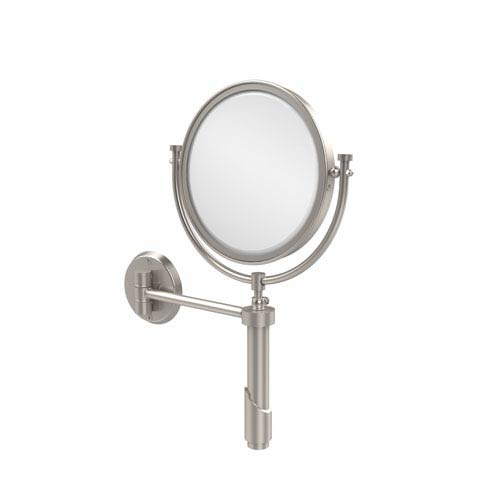 Tribecca Collection Wall Mounted Make-Up Mirror 8 Inch Diameter with 2X Magnification, Satin Nickel