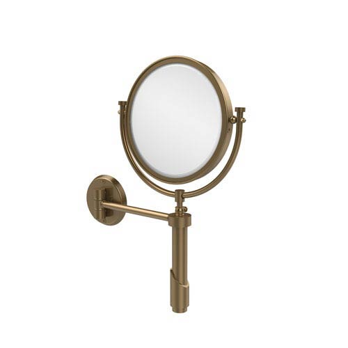 Tribecca Collection Wall Mounted Make-Up Mirror 8 Inch Diameter with 4X Magnification, Brushed Bronze
