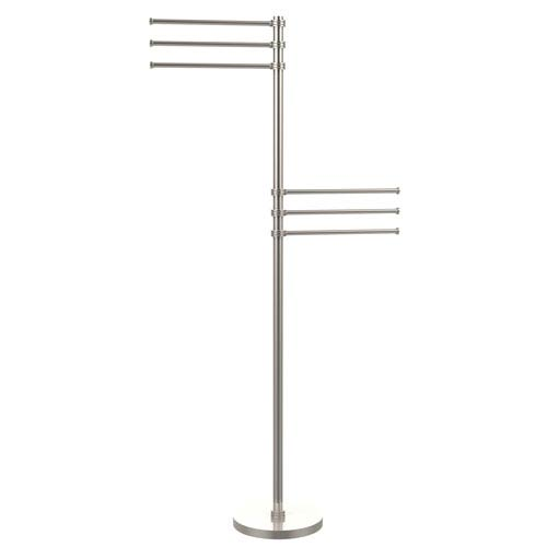 Towel Stand with 6 Pivoting 12 Inch Arms, Satin Nickel
