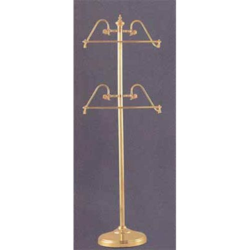 Polished Brass Towel Stand w/ 2 17 Inch Bars