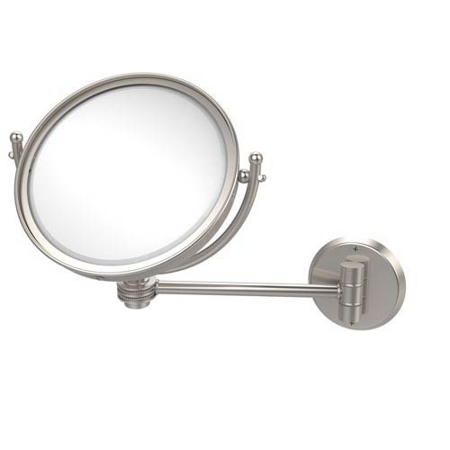 Allied Brass 8 Inch Wall Mounted Make-Up Mirror 5X Magnification, Satin Nickel