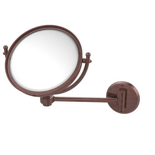 8 Inch Wall Mounted Make-Up Mirror 2X Magnification, Antique Copper
