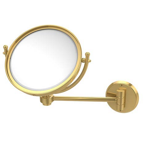 8 Inch Wall Mounted Make-Up Mirror 2X Magnification, Unlacquered Brass