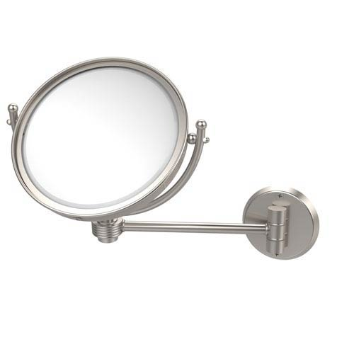 Allied Brass 8 Inch Wall Mounted Make-Up Mirror 3X Magnification, Satin Nickel