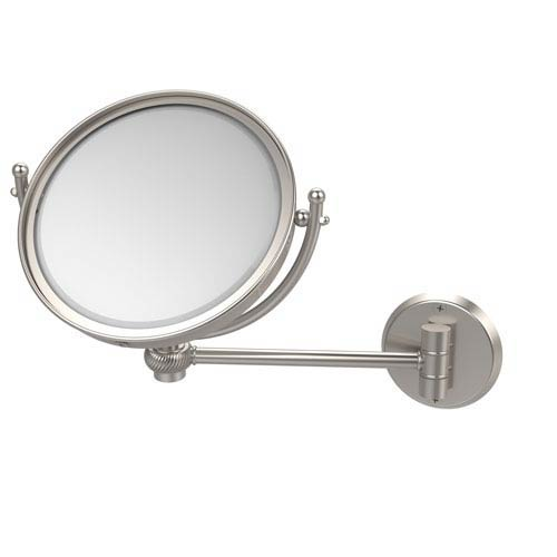Allied Brass 8 Inch Wall Mounted Make-Up Mirror 4X Magnification, Satin Nickel
