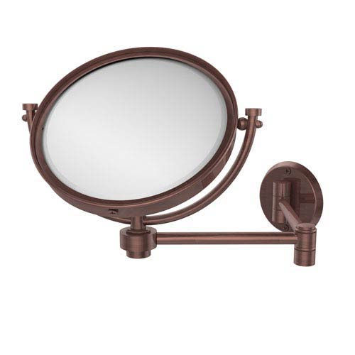 8 Inch Wall Mounted Extending Make-Up Mirror 2X Magnification, Antique Copper