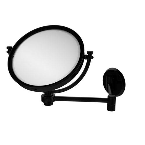 8 Inch Wall Mounted Extending Make-Up Mirror 2X Magnification with Groovy Accent, Matte Black