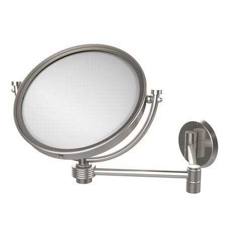 8 Inch Wall Mounted Extending Make-Up Mirror 3X Magnification with Groovy Accent, Satin Nickel