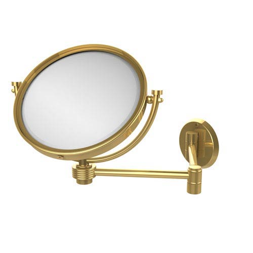 8 Inch Wall Mounted Extending Make-Up Mirror 4X Magnification with Groovy Accent, Unlacquered Brass