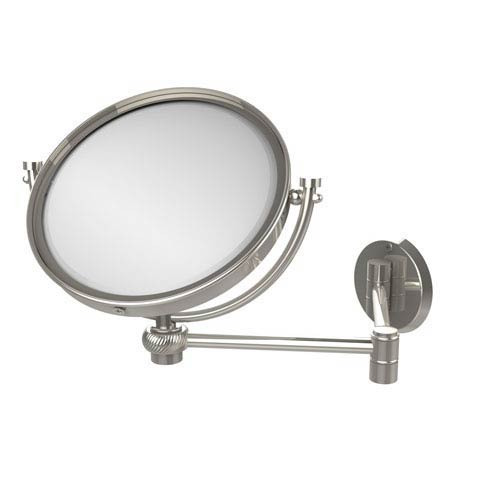 8 Inch Wall Mounted Extending Make-Up Mirror 2X Magnification with Twist Accent, Polished Nickel