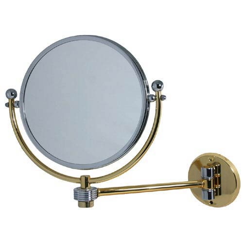 Polished Brass 8 Inch Mirror 5x Magnification Extends 7 Inch