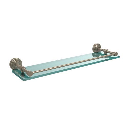 Waverly Place 22 Inch Tempered Glass Shelf with Gallery Rail, Antique Pewter