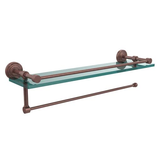 Waverly Place Collection Paper Towel Holder with 16 Inch Gallery Glass Shelf, Antique Copper
