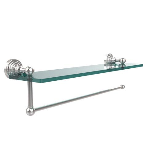 Allied Brass Waverly Place Collection Paper Towel Holder with 22 Inch Glass Shelf, Polished Chrome