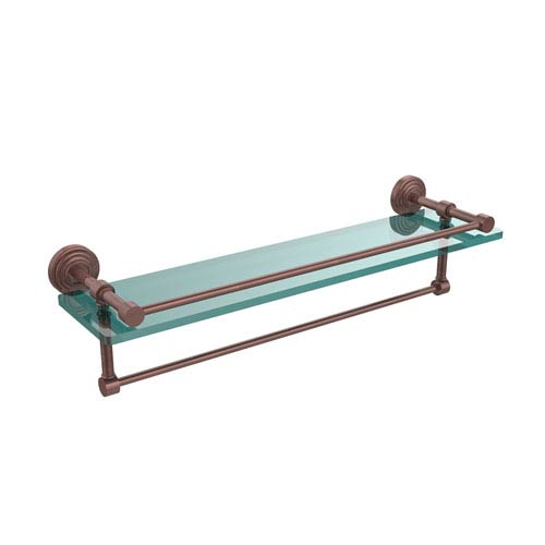 22 Inch Gallery Glass Shelf with Towel Bar, Antique Copper