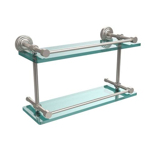 Allied Brass Waverly Place 16 Inch Double Glass Shelf with Gallery Rail, Satin Nickel