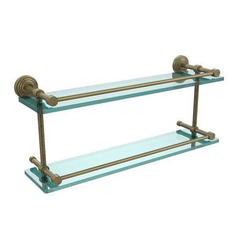 Waverly Place 22 Inch Double Glass Shelf with Gallery Rail, Antique Brass