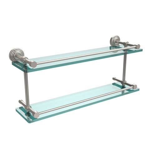 Allied Brass Waverly Place 22 Inch Double Glass Shelf with Gallery Rail, Satin Nickel
