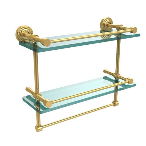 16 Inch Gallery Double Glass Shelf with Towel Bar, Unlacquered Brass